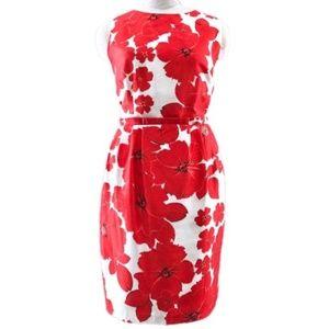 Eliza J Red Poppy Flowers Print Sheath Dress